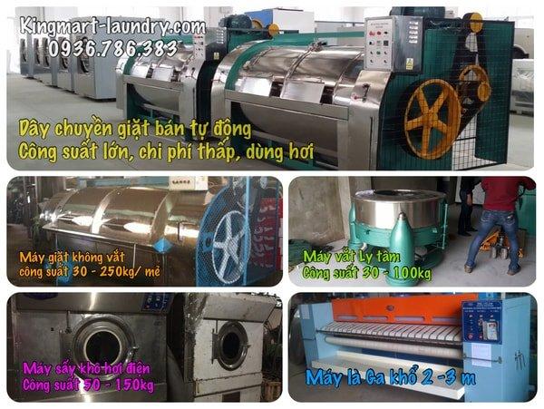 Mô hình giặt là sử dụng máy giặt công nghiệp bán tự động